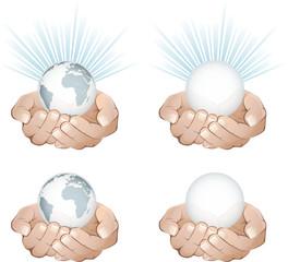 Mains et planètes, image vectorielle