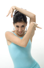 Portrait of young beautiful dancer girl isolated