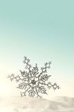 Sparkling snowflake in the snow with aqua background poster