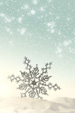 Sparkling snowflake in the snow with snow falling poster