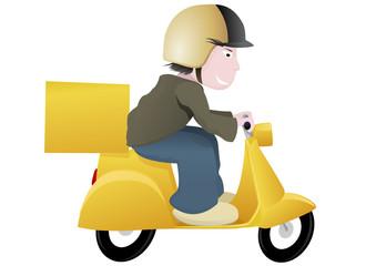 Livreur sur son scooter