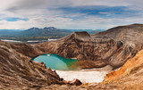 Acid lake in volcanic crater poster
