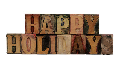 'Happy Holidays' in letterpress wood letters