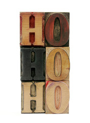 'ho ho ho' in letterpress wood letters
