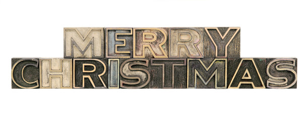 Merry Christmas in outline letterpress wood letters