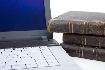 laptop and books