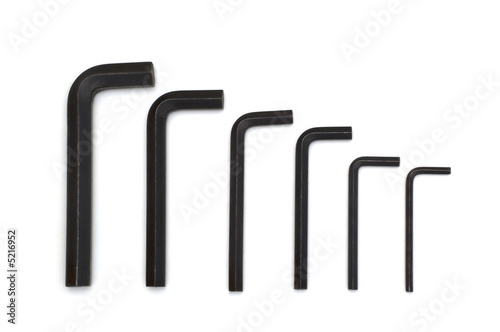 black spanners on white background