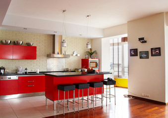 Interior. Red kitchen