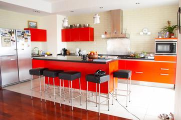Interior. Red kitchen