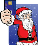Santa claus pays with credit  poster