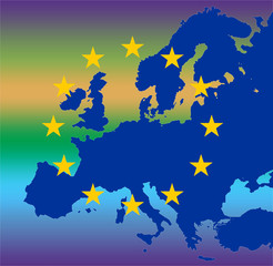cool union - gold eu stars on map of blue europe with cool gradi