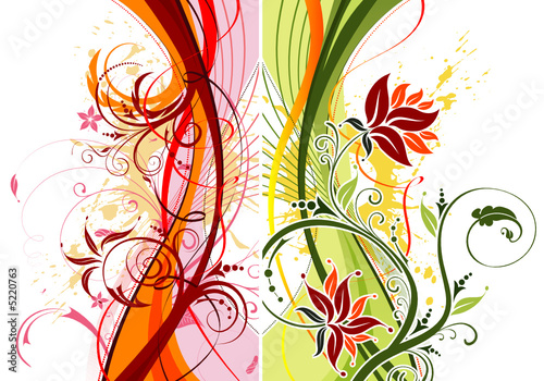 Grunge paint flower background with waves, vector