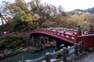 Puente Japones clasico, Hakone, Japón