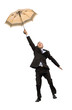 happy flying businessman with umbrella