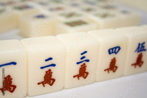 Tiles used in mahjong games popular among chinese.