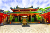 Chinese temple courtyard poster
