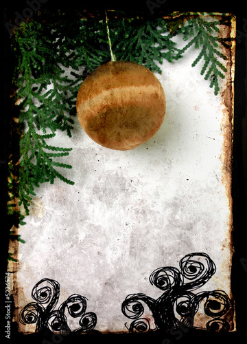 christmas  Postcard with grunge frame