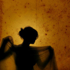 Veiled girl in vintage background