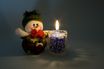 Snowman and candlelight