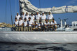 Crew on Sailboat Deck Before Yacht Race