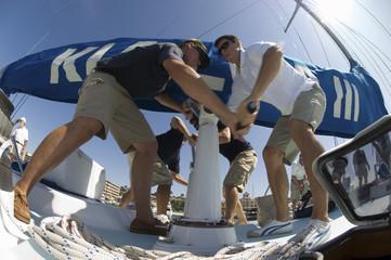 Sailors During Yacht Race