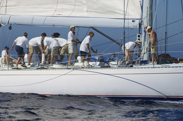 Sailboat Crew During Race