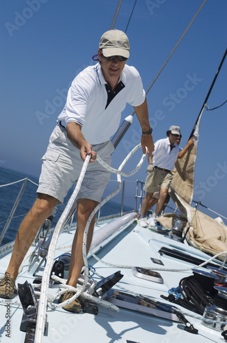Sailors on Deck During Yacht Race