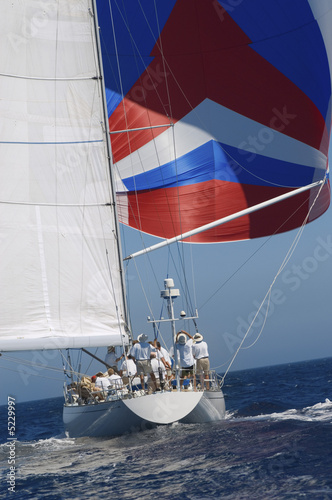 Sailboat and Crew During Race