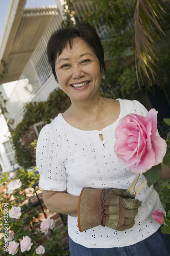Woman with pink rose, outdoors, portrait