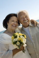 Senior Newly wed couple, outdoors, portrait