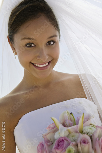 Bride With Bouquet on Beach