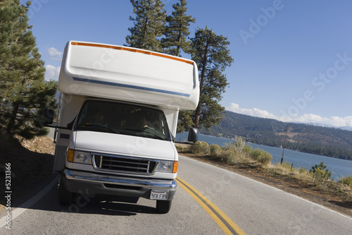 RV driving on mountain road