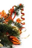 Branche de sapin de noel décorée poster