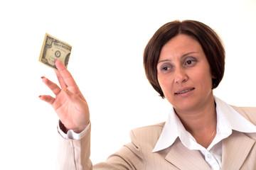 White businesswoman with ten bucks