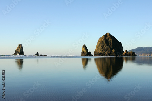 Famous Haystack Rock reflections, Canon Beach, Oregon