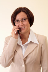 White businesswoman with handy, smile