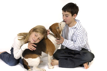 Boy and Girl with Beagle