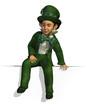 Leprechaun Sitting on Edge - 3D render