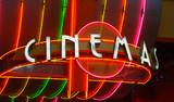 Cinema retro neon sign  poster