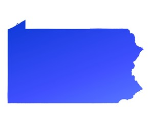 blue gradient map of Pennsylvania, USA