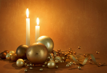christmas scene with candles, decorations and copy space