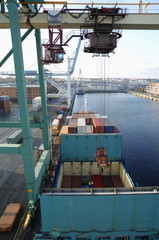 container-ship and crane from bridge