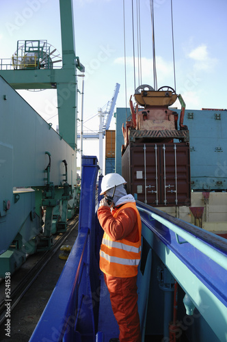 containers, ship, crane and engineer
