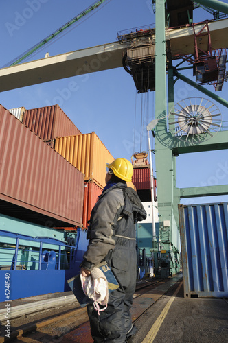 engineer, crane and containers