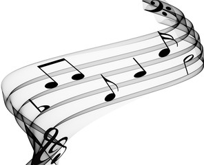 music notes on soft grey curves