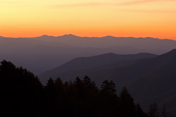 Sunrise Newfound Gap Great Smoky Mountains