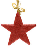 Red christmas glitter-star with golden tape poster