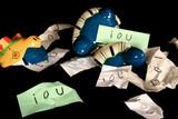 broken piggy bank full of promissory notes poster