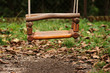 Closeup of a swing in park