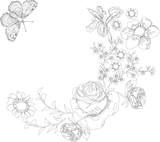 butterflies and flowers sketch poster